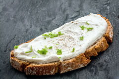 Healthy low fat cream cheese and chives on bread Royalty Free Stock Photo