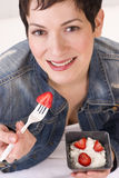 Healthy Lunch Woman Eats Fruit Cottage Cheese Royalty Free Stock Photos