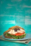 Healthy lunch. Turkey sandwich with a glass of water stock images