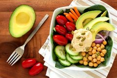 Healthy lunch bowl with avocado, hummus and fresh vegetables royalty free stock photography