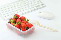Healthy lunch box on desk Royalty Free Stock Image