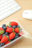 Healthy lunch box in office Stock Images