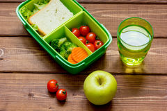 Healthy lunch box for student with juice Royalty Free Stock Photos