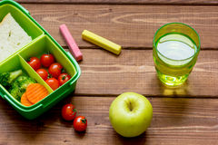 Healthy lunch box for student with juice Royalty Free Stock Image