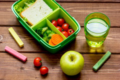Healthy lunch box for student with juice Stock Photos