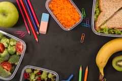 Healthy lunch box. Top view royalty free stock images