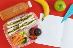 Healthy lunch boxes sandwich vegetables juice top view notebook. Notebook with blank pages with healthy school lunch boxes with sandwich, fresh vegetables and Royalty Free Stock Photos