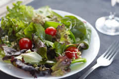Healthy lunch, crisp, fresh salad. Close up image of healthy salad with table setting Stock Photo