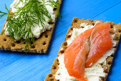 Healthy lunch, of crispbread with salmon and cream cheese royalty free stock images