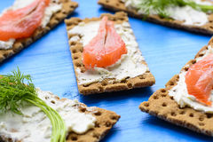 Healthy lunch, of crispbread with salmon and cream cheese stock photos