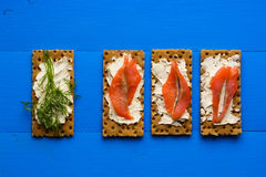 Healthy lunch, of crispbread with salmon and cream cheese royalty free stock photography