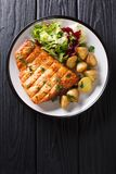 Healthy lunch grilled swordfish fillet with fried potatoes and fresh salad close-up on a plate. Vertical top view. Healthy lunch grilled swordfish fillet with stock image
