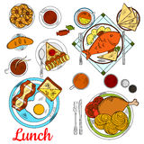 Healthy Lunch Icon With Main Dishes And Desserts Stock Image