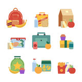 Healthy lunch in plastic box. Lunchbox for kids. Vector illustration set isolate on white background. Lunch box with drink and sandwich Royalty Free Stock Photo