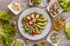 Healthy lunch plate. Avocado, quail egg and blue cheese salad Stock Images