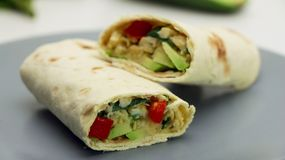 Healthy lunch snack. Tortilla wraps with Avocado, Spinach, Cheese and Bell Pepper on a Grey Plate. On a White Background royalty free stock photos