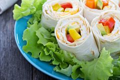 Healthy lunch snack tortilla wraps Stock Photos