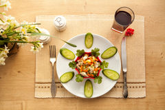Healthy lunch with vegetables chicken salad and fresh juice. Stock Images