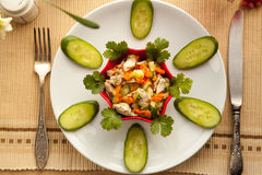 Healthy lunch with vegetables chicken salad and fresh juice. Royalty Free Stock Photography