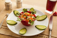 Healthy lunch with vegetables chicken salad and fresh juice. Stock Photo