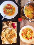 Healthy lunch with vegetables stock images