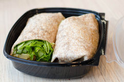 Healthy lunchbox/chicken wrap Stock Photos