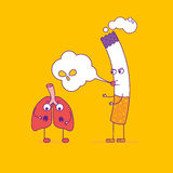 Healthy lungs beats cigarette cartoon character in flat line sty Stock Images