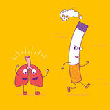 Healthy lungs beats cigarette cartoon character in flat line sty Stock Photos