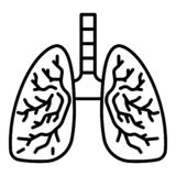 Healthy lungs icon, outline style. Healthy lungs icon. Outline healthy lungs vector icon for web design isolated on white background stock illustration