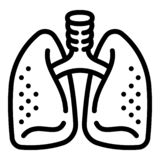 Healthy lungs icon, outline style. Healthy lungs icon. Outline healthy lungs vector icon for web design isolated on white background vector illustration
