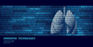 Healthy lungs respiratory internal organs. Binary code data flow. Doctor online innovative technology vector. Illustration art vector illustration