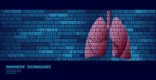 Healthy lungs respiratory internal organs. Binary code data flow. Doctor online innovative technology vector. Illustration art stock illustration