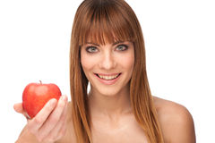 Healthy lyfestyle concept - attractive girl with an apple Stock Image