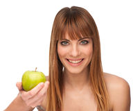 Healthy lyfestyle-girl with an apple Stock Photos
