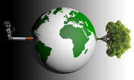 Healthy or malady. Left side globe with cigarette is malady , right side globe with tree is healthy Stock Photo