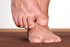 Healthy male feet stepping royalty free stock images