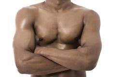Healthy man. Torso close up portrait on white Stock Photo