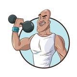 Healthy man athletic muscular weight barbell Royalty Free Stock Photos