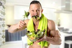 Healthy man eating a salad Stock Photos