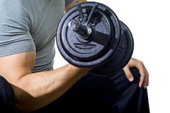 Healthy man hard workout in gym Royalty Free Stock Photo
