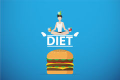 Healthy man meditating on diet word over hamburger, diet and health concept Royalty Free Stock Photo