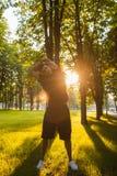 Healthy man outdoor fitness training Stock Photos