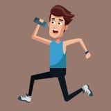 Healthy man running bottle water Stock Image