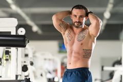Healthy Man Showing Abdominal Muscle. Portrait Of A Young Physically Fit Tattoo Man Showing His Well Trained Body - Muscular Athletic Bodybuilder Fitness Model royalty free stock images