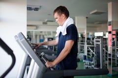 Healthy man a treadmill Stock Image