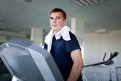 Healthy man a treadmill Stock Photo
