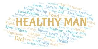 Healthy Man word cloud. Wordcloud made with text only vector illustration