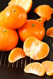 Healthy Mandarin Oranges on Black Background Royalty Free Stock Photo