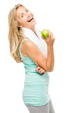 Healthy mature woman exercise green apple isolated on white back Stock Images