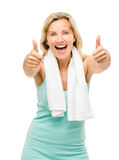 Healthy mature woman thumbs up sign isolated on white background Royalty Free Stock Photos